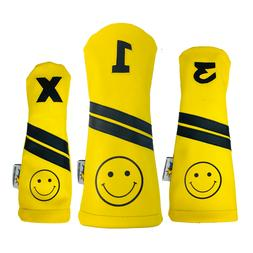 Smiley Face Sunfish Leather golf club headcover set - DR, FW