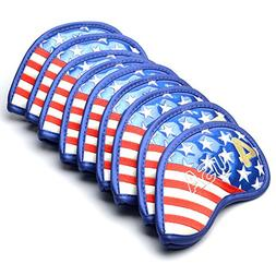 GOOACTION 9Pcs Stars and Stripes Golf Iron Covers USA Americ