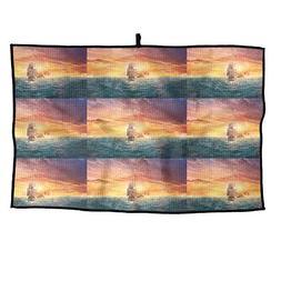 HenSLK Sunset Ocean Ship Sailboat Grid Microfiber Cooling Go