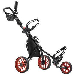 CaddyTek SuperLite Deluxe Golf Push Cart, Black
