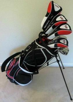 "Tall Mens Complete Golf Club Set +1"" Driver Woods Hybrid Iro"