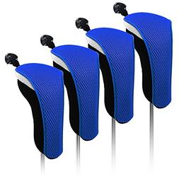 4x Thick Neoprene Black Blue Hybrid Golf Club Head Cover Hea