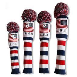 Craftsman Golf US Flag Knit Pom Pom White Blue Red Driver,Fa