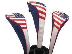 Majek USA Patriot Golf Zipper Head Covers Driver 1 3 5 Fairw