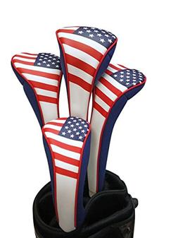 USA Patriot Golf Zipper Head Covers 1 3 5 H Driver Hybrid Fa