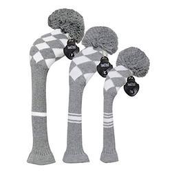 Scott Edward Warm Winter Style Grey/white Argyle Golf Pom Po
