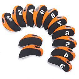 SummerHouse 12 Pcs Waterproof Golf Iron Head Covers 3-9 A/S/