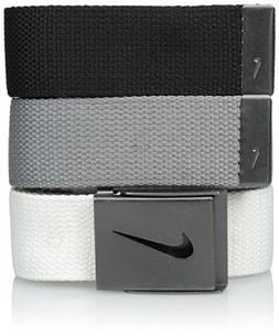 Nike Men's 3 Pack Web, White/Gray/Black, One Size