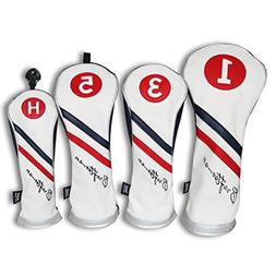 Craftsman Golf White Blue Red Pu Leather Diagonal Stripes Dr