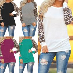 Women's Leopard Blouse Long-Sleeve Fashion Ladies T-Shirt Ov